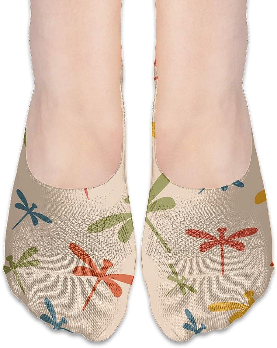 No Show Socks Women Men For Dragonflies Rainbow Pink Retro Flats Cotton Ultra Low Cut Liner Socks Non Slip