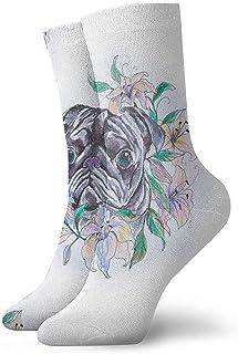 iuitt7rtree Pug hermoso en calcetines atléticos ocasionales atléticos de las flores