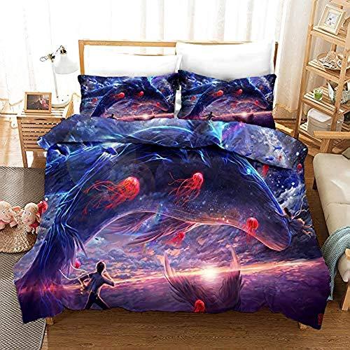 dsgsd La ropa de cama 3D es súper suave y cómoda. Creativo animal de medusa ballena 180x220cm Juego de ropa de cama Ropa de cama para adolescentes Sábana para niños Funda de almohada Juegos de funda n
