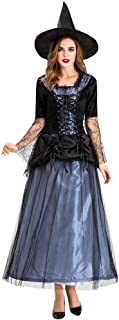 iLOOSKR Halloween Women Black Gauze Witch Dress Night Ghost Costume Dress Ankle-Length