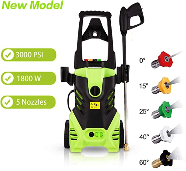 Homdox Zolko 3000 PSI Electric High Pressure Washer 1800W Professional Power Washer Portable Cleaner Machine With 5 Interchangeable Nozzles