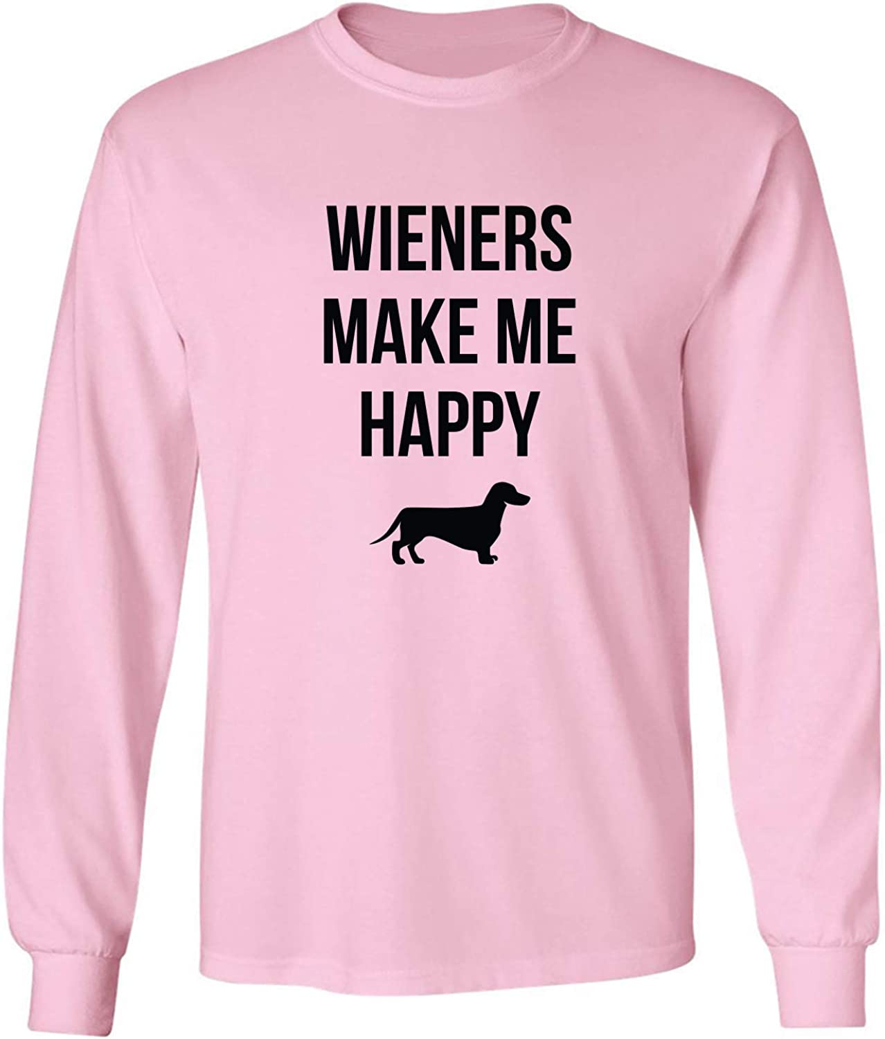 Wieners Make Me Happy Adult Long Sleeve T-Shirt in Pink - XXXXX-Large