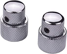 JJmooer 2 Sets Dual Concentric Stacked Control Knobs for Electric Bass Guitars Silver Color