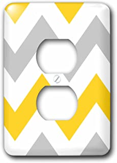 3dRose lsp_179796_6 Big Yellow and Gray Chevron Zig Zag Pattern Grey White Zigzag Stripes Light Switch Cover