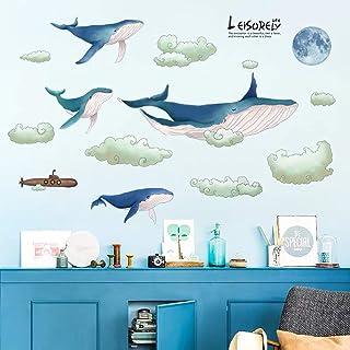 1 Set Wandaufkleber Cartoon Blauwal Wandkunst Dekor Kindergarten Wandtattoos