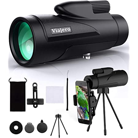 FMC BAK4 Prism Night Vision Goggles 12X50 Monocular Telescope Scope Compact Waterproof Starscope High Definition Monocular for Adults Kids with Smartphone Holder /& Tripod