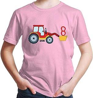Hariz - Camiseta para niño con diseño de tractor y pala con número 8, incluye tarjeta de regalo