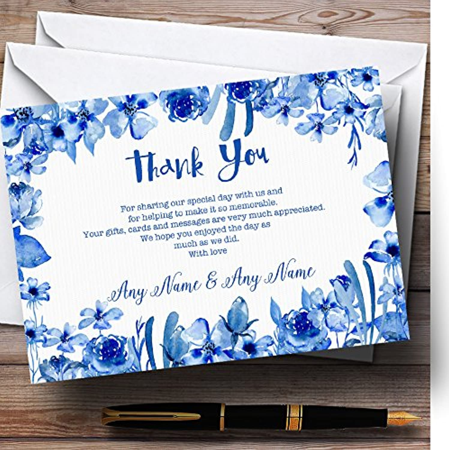Watercolour Indigo bluee Floral Personalised Wedding Stationery Thank You Cards