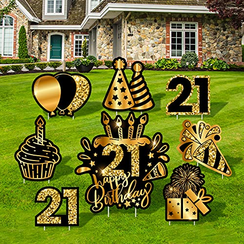 RUODON 18 Inches Happy 21st Birthday Yard Sign Giant Waterproof Black Gold Happy 21st Birthday Lawn Decorations Yard Sign with Stakes for Birthday Party Supplies Decorations