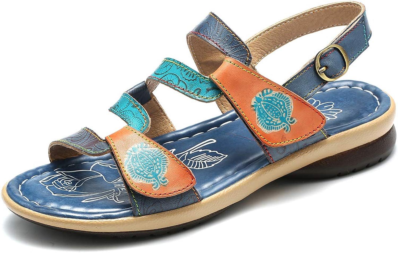 Gracosy Women's Leather Sandals, Summer Flats Sandal Slipper Handmade Low Heel Pumps Open Toe Slip Ons