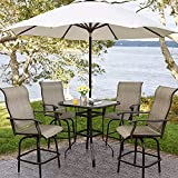 5 PCS Outdoor Patio Bar Stools Swivel Bistro Set, Bar Chairs All-Weather High top Table and Chairs Set with Umbrella Hole Patio Furniture for Cafes Lawn Garden (4 Chairs & 1 Tables)