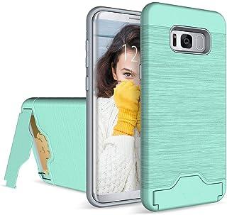 Baobeir 三星 Galaxy S8 Plus 手机壳,防震重型全防护手机壳带信用卡插槽和支架,适用于三星 Galaxy S8 Plus 6.2 英寸(2017 版本)(薄荷绿 0)
