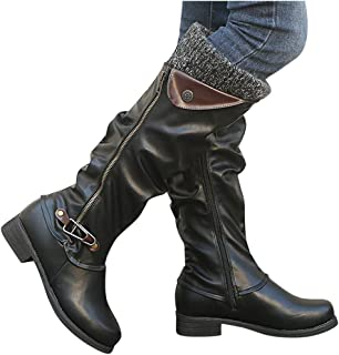 Fainosmny Ladies Leather Zipper Snow Boots Knee-High Shoes Boots Winter for Women Plus Size Slip On Cowboy Booties Flat Shoes