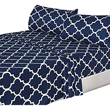Utopia Bedding 3 Piece Bed Sheets Set (Twin, Navy) 1 Flat Sheet 1 Fitted Sheet and 1 Pillow Case - Hotel Quality Brushed Velvety Microfiber - Luxurious - Extremely Durable - by
