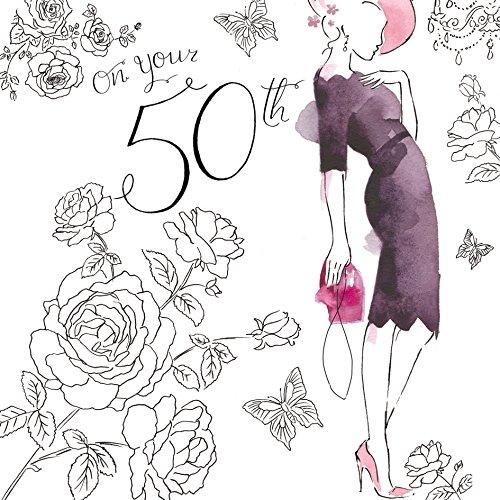 Twizler 50th Tarjeta de cumpleaños para Her con acabado de cristal Swarovski, decoración color plata, único efecto de acuarela y vestido de cóctel–50años–50años de edad tarjeta de cumpleaños