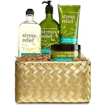 Bath and Body Works Aromatherapy Eucalyptus Spearmint Gold Woven Basket Gift Kit