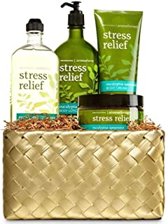Bath and Body Works Aromatherapy Eucalyptus Spearmint Gold Woven Basket Gift Kit