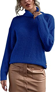 Sponsored Ad - Women's Turtleneck Sweater Super Long Batwing Long Sleeve Side Split Button Pullover Loose Chunky Knit Pull...