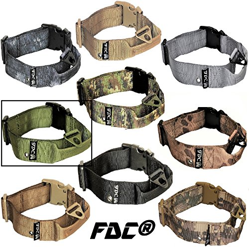"FDC Dog Tactical Collars with Handle Heavy Duty Training Military Army Width 1.5in Plastic Buckle TAG Hole Medium Large M, L, XL, XXL (XXL: Neck 20"" - 24"", Military Green)"
