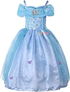 Halloween Girls Costume Lace Princess Cinderella Party Dress Off-Shoulder Dress Kids Girls Dress Outfits Cosplay Costume (...