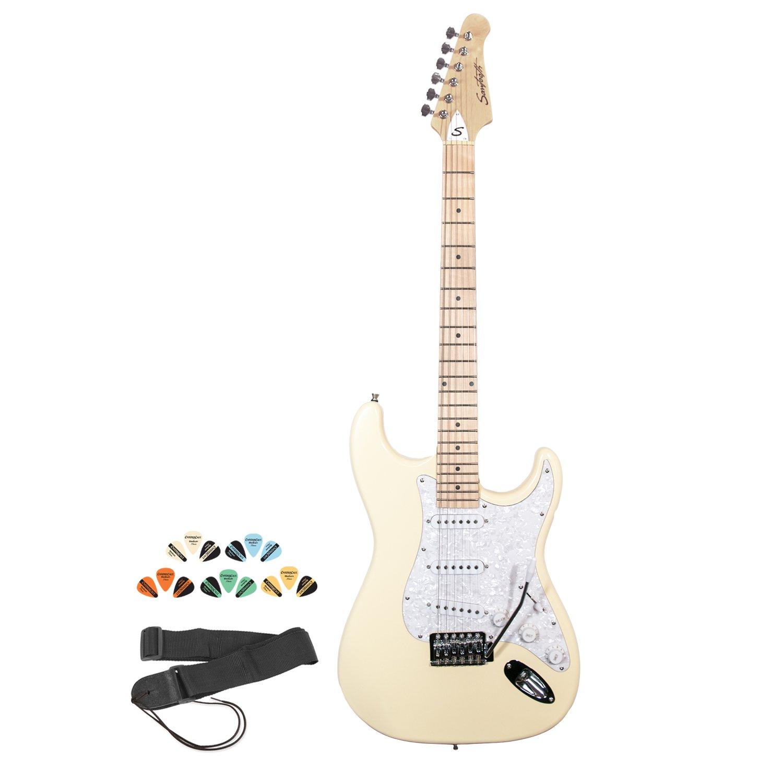 Diente de Sierra Kit de guitarra eléctrica – incluye: Correa, púas & en línea lección: Amazon.es: Instrumentos musicales