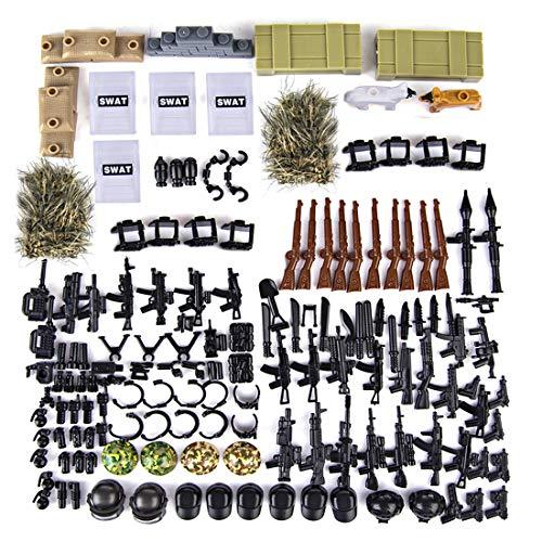 SESAY Juego de armas militares de 66 piezas, armas WW2, chaleco, perros y casco, para soldados de la policía SWAT Team