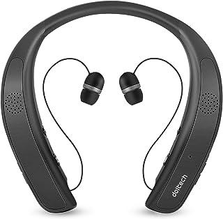 ネックバンドスピーカー ワイヤレス Bluetoothイヤホン2 in 1 ウェアラブル/10時間連続使用/Bluetooth4.1搭載/伸縮式ケーブル 音楽/通話/テレビなど適用 HI-FI 3Dステレオ マイク内蔵 首かけスピーカー (チタンブラック)