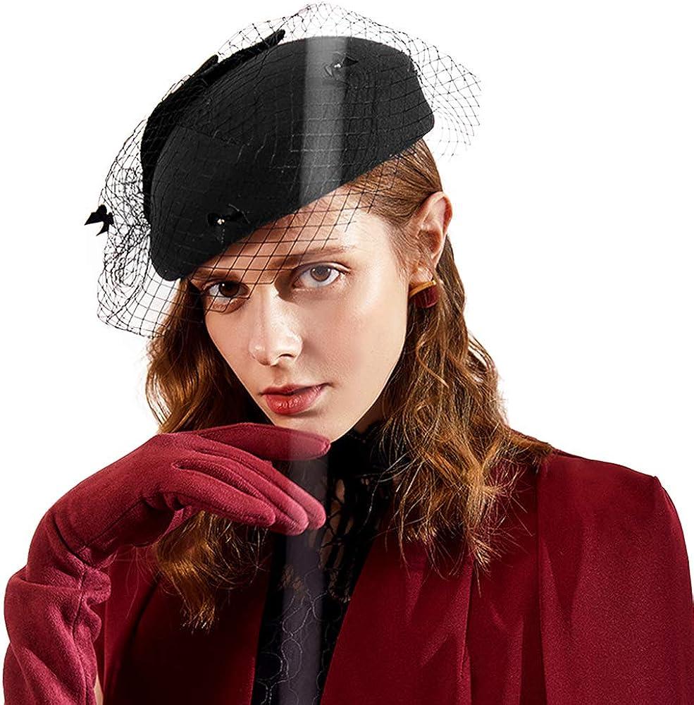 F FADVES Women Pillbox Style Fascinator Tea Party Wedding Races Hat with Birdcage Veil