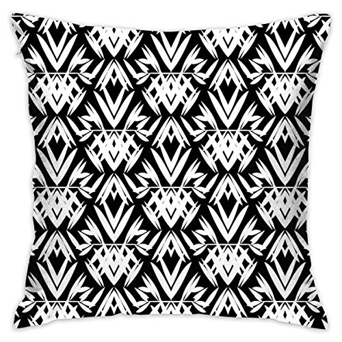 N / A Art Deco Black and White Pattern Personalized Decorative Cotton Single Pillowcase Square Without Pillow Core Suitable