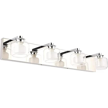 Pasoar Bathroom Vanity Lights 4 Light Modern Wall Sconce Fixtures 19 6 Bathroom Wall Light Sconces Stainless Steel Mirror Lighting Waterproof Ip44 Chrome Finishing With G9 Bulb Bulb Excluded Amazon Com