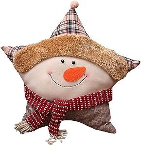Lovely Linen Star Canapé-lit de Noël Home Decor Coussin d'oreiller, bonhomme de neige