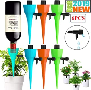 DFYOU 2019 Newest Plant Watering Devices Adjustable Automatic Plant Self Waterer Spikes System with Constant Release Control Valve Switch for Vacation Drip Irrigation Home Plants, Flower beds (6 PCS)