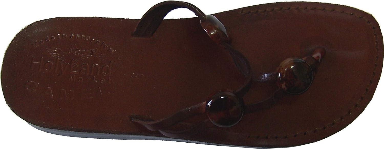 Holy Land Market Women Girls Genuine Leather Biblical Sandals Flip Flops (Jesus - Yashua) Jerusalem Style III Camel Trademark