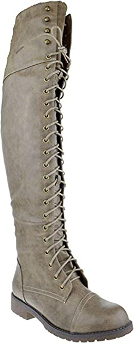 Amazon.com | Nature Breeze FG08 Women Leatherette Over The Knee Lace Up  Combat Boot - Black | Over-the-Knee