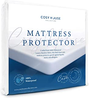 Queen Size Luxury Bamboo Hypoallergenic Waterproof Mattress Protector - Breathable Noiseless Fitted Bed Cover Stays Cool -...
