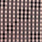 Kt KILOtela Tela de loneta Estampada - Retal de 300 cm Largo x 280 cm Ancho | Cuadros Vichy fardero - Rosa, Negro ─ 3 Metros