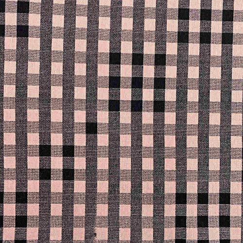 Kt KILOtela Tela de loneta Estampada - Retal de 300 cm Largo x 280 cm Ancho   Cuadros Vichy fardero - Rosa, Negro ─ 3 Metros