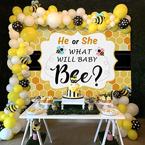 Bee Photography Backdrop, Balloon Garland Arch Kit, What will it Bee Baby Shower
