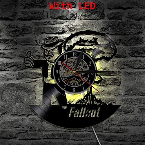 fdgdfgd Negro Retro CD Reloj Polvo LED Vinilo Reloj Lámpara de Pared Cambio de Color Cool Art Deco Luz Control Remoto   Grabar decoración de Luces de Halloween