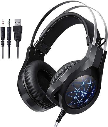 HUAXING Gaming Headset, 7,1 Canale Surround Audio Over-Ear Gaming Archetto con Illuminazione a LED Blu, Microfono a cancellazione del Rumore & Controllo del Volume per Computer PC,Black - Trova i prezzi più bassi