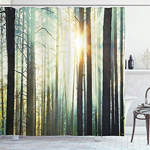 Roman Lin Natur Duschvorhang,Nebel im Zauberwald mit Sonnenstrahlen Malereieffekt Digitales Kunstbild,Stoff Stoff Badezimmer Dekor Set mit Haken,152X183CM,Dunkelbraun