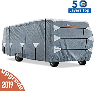 KING BIRD Upgraded Class A RV Cover, Extra-Thick 5 Layers Anti-UV Top Panel, Deluxe Camper Cover, Fits 40'- 43' RV Cover -Breathable, Water-Proof, Rip-Stop with 2Pcs Extra Straps & 4 Tire Covers