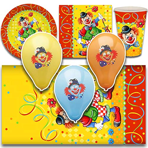 tradingbay24 Party-Set Clown (67-teilig: Servietten, Teller, Becher, Tischdecke, Luftballons) tbK0029 Geburtstags-Party-Set Party-Deko-Set Karnevals-Deko