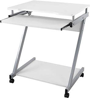 VASAGLE Escritorio de la Computadora Blanco Mesa de Ordenador en Forma de Z Escritorio para hogar o Oficina LCD811W