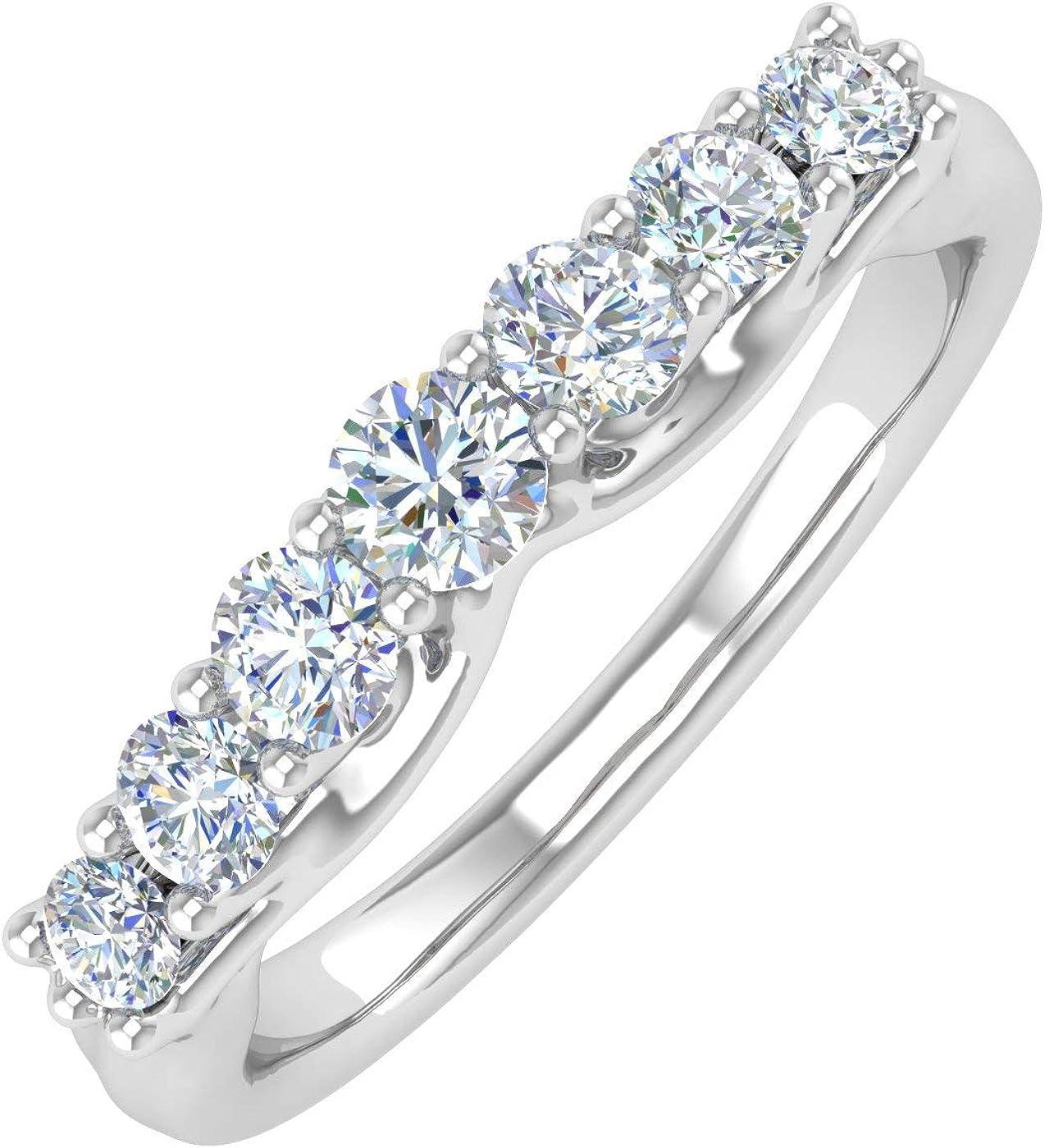 1/2 Carat 7-Stone Diamond Wedding Band Ring in 14K Gold