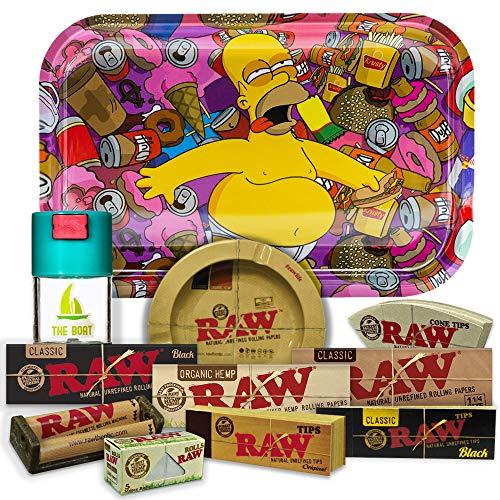 Bandeja para liar Los Simpson 27,5cm x 17,5cm + Cenicero RAW + Bote Antiolor THE BOAT + Maquina de liar 79mm + Papel Raw 1 1/4 Organic, Black y Classic + Tips Maestro, Orgánico y Classic.