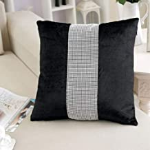 San Tungus Pack of 2, Black Wedding Pillow Cases with Sequined Rhinestone, Sequined Rhinestone Decorative Euro Throw Pillow Covers Pillowcase for Couch Sofa Bed, 18x18 Inches