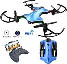 Drone for Beginners Kids FPV RC Drone with 720P HD Wi-Fi Camera for Aldults Quadcopter Drone with Optical Flow Positioning Altitude Hold,Foldable Arms, One Key take Off/Landing,Blue