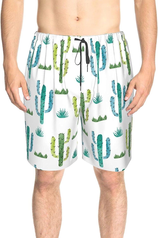 JINJUELS Mens Swim Trunks Cartoon Cactus Swim Board Shorts Drawstring 3D Printed Athletic Swimwear Shorts with Mesh Lining