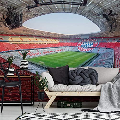 Fototapete Vlies Tapete FCB Stadion Mia san mia Bayern München Allianz Arena Fußball Bundesliga Mannschaft Fans Sportverein Rasen Tor Wall-Art - 384x260 cm